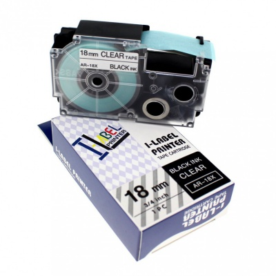 Banda compatibila Casio XR-18X1, 18mm x 8m text negru / fundal transparent