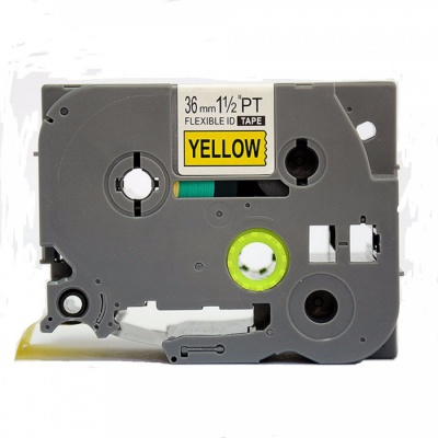 Banda compatibila Brother TZ-FX661 / TZe-FX661, 36mm x 8m, flexi, text negru / fundal galben