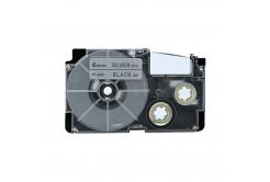 Banda compatibila Casio XR-6SR1 6mm x 8m text negru / fundal argintiu