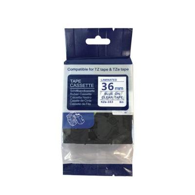 Banda compatibila Brother TZ-163 / TZe-163, 36mm x 8m, text albastru / fundal transparent