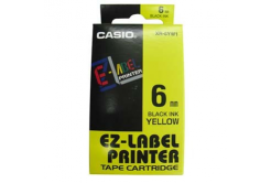 Casio XR-6YW1, 6mm x 8m, text negru / fundal galben, banda originala