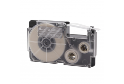 Casio XR-9AX, 9mm x 8m text alb / fundal transparent, banda compatibila