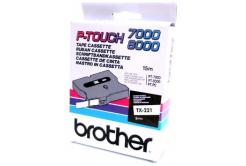 Brother TX-221, 9mm x 8m, text negru / fundal alb, banda original