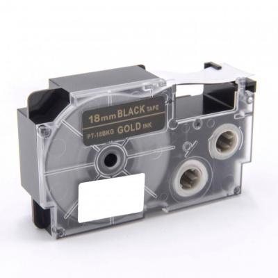 Banda compatibila Casio XR-18BKG 18mm x 8m text auriu / fundal negru