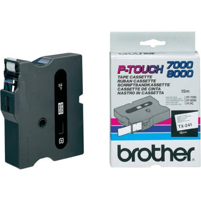Brother TX-241, 18mm x 15m, text negru / fundal alb, banda original