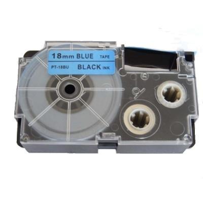 Banda compatibila Casio XR-18BU1, 18mm x 8m text negru / fundal albastru