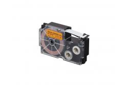 Casio XR-12FOE , 12mm x 8m, černý tisk / signální oranžový podklad, kompatibilní páska