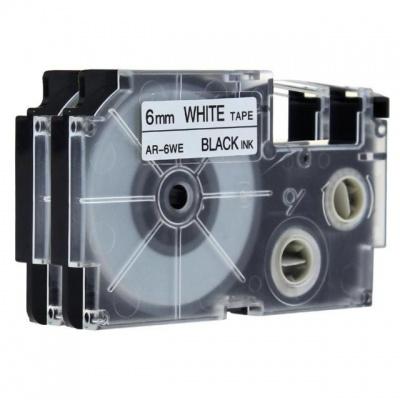 Banda compatibila Casio XR-6WE, 6mm x 8m text negru / fundal alb