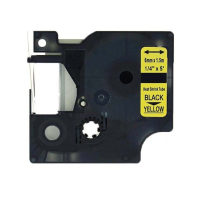 Dymo 18052, S0718270, 6mm x 1, 5m text negru / fundal galben, tub termocontractibil, banda compatibila