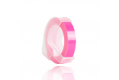 Dymo Omega, 9mm x 3m, text alb / fluorescenta fundal roz, banda compatibila