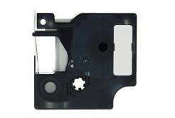 Banda compatibila Dymo 18485, 9mm x 5, 5m text negru / fundal metalic, polyester