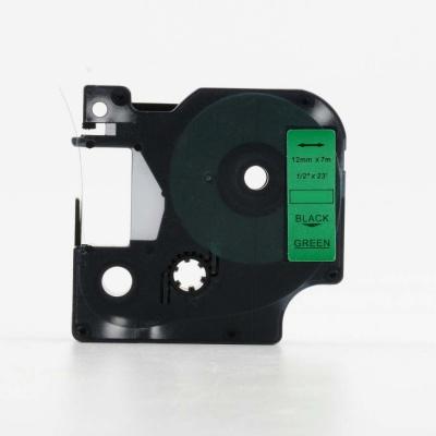 Banda compatibila Dymo 45019, S0720590, 12mm x 7m text negru / fundal verde