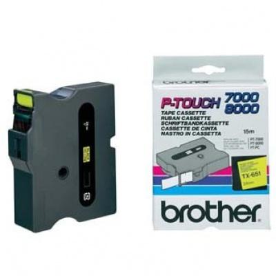 Brother TX-651, 24mm x 15m, text negru / fundal galben, banda original