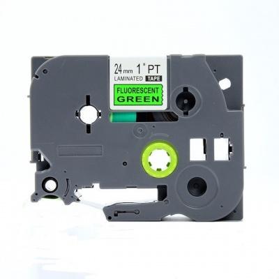 Banda compatibila Brother TZ-D51 / TZe-D51, semnal 24mm x 8m, text negru / fundal verde
