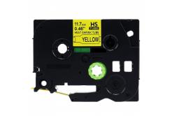 Banda compatibila Brother HSe-631 11,7mm x 1,5m, contractabila, text negru / fundal galben