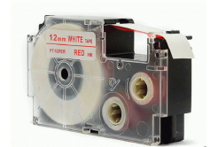 Banda compatibila Casio XR-12WER 12mm x 8m text rosu / fundal alb