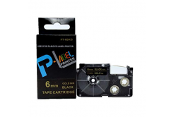 Banda compatibila Casio XR-6BKG 6mm x 8m text auriu / fundal negru