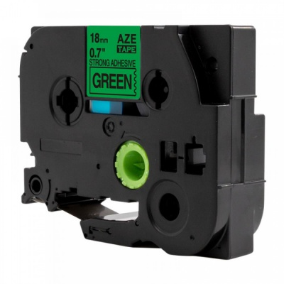 Banda compatibila Brother TZ-S741 / TZe-S741, 18mm x 8m, extr.adh. text negru / fundal verde