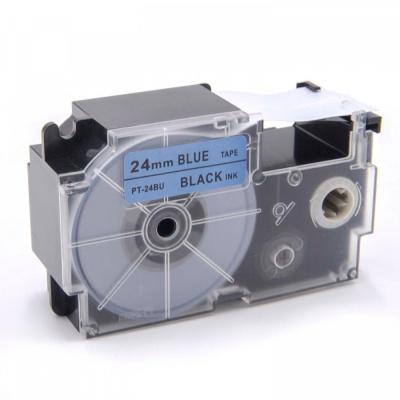 Banda compatibila Casio XR-24BU1, 24mm x 8m, text negru / fundal albastru