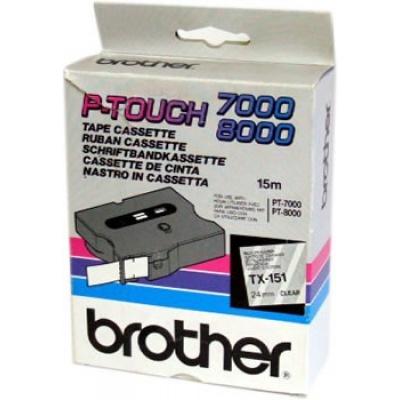 Brother TX-151, 24mm x 15m, text negru / fundal transparent, banda original