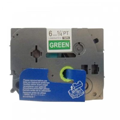 Banda compatibila Brother TZ-715 / TZe-715, 6mm x 8m, text alb / fundal verde