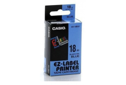 Casio XR-18BU1, 18mm x 8m, text negru / fundal albastru, banda originala