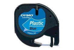 Dymo LetraTag 59426,S0721600 / S0721650 12mm x 4m, text negru / fundal albastru, banda original