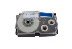 Banda compatibila Casio XR-12WEB 12mm x 8m text albastru / fundal alb