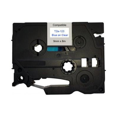 Banda compatibila Brother TZ-123 / TZe-123, 9mm x 8m, text albastru / fundal transparent