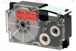 Banda compatibila Casio XR-18RD1, 18mm x 8m text negru / fundal rosu