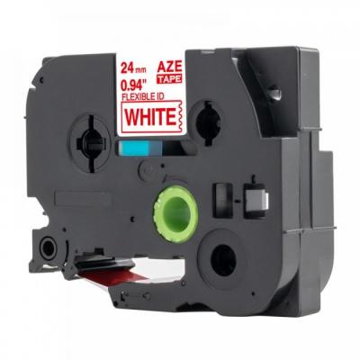 Banda compatibila Brother TZ-FX252 / TZe-FX252, 24mm x 8m, flexi, text rosu / fundal alb