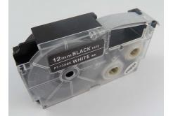 Banda compatibila Casio XR-12ABK, 12mm x 8m text alb / fundal negru