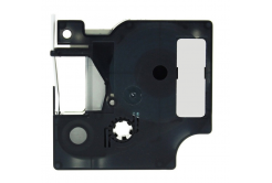 Banda compatibila Dymo 18486, 12mm x 5, 5m text negru / fundal metalic, polyester