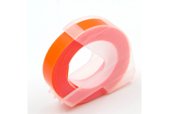 Dymo Omega, 9mm x 3m, text alb / fluorescenta fundal portocaliu, banda compatibila