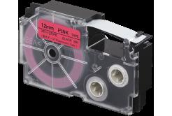 Casio XR-12FPK , 12mm x 8m, černý tisk / signální růžový podklad, kompatibilní páska