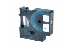 Banda compatibila Dymo 40911, S0720510, 9mm x 7m, text albastru / fundal transparent