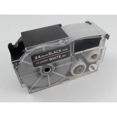 Banda compatibila Casio XR-24ABK 24mm x 8m text alb / fundal negru