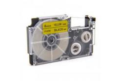 Banda compatibila Casio XR-6YW1, 6mm x 8m text negru / fundal galben