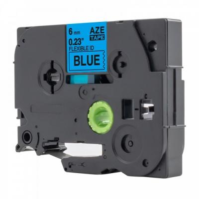 Banda compatibila Brother TZ-S511 / TZe-S511, 6mm x 8m, extr.adh. text negru / fundal albastru