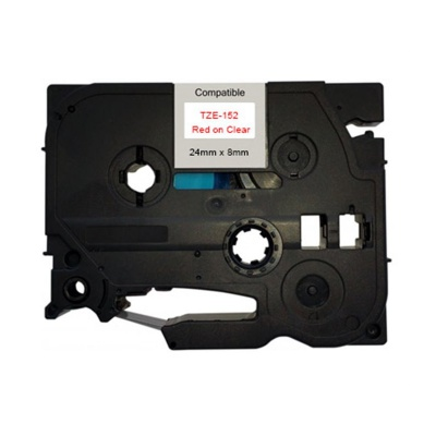 Banda compatibila Brother TZ-152 / TZe-152, 24mm x 8m, text rosu / fundal transparent