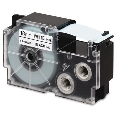 Banda compatibila Casio R11WE 18mm x 2,5m contractabila, text negru / fundal alb