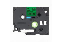 Banda compatibila Brother TZ-FX751 / TZe-FX751,24mm x 8m, flexi, text negru / fundal verde