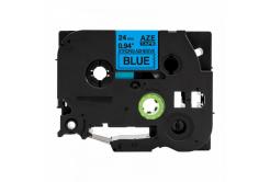 Banda compatibila Brother TZ-S551 / TZe-S551, 24mm x 8m, extr.adh. text negru / fundal albastru
