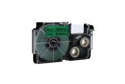 Banda compatibila Casio XR-6GN1, 6mm x 8m text negru / fundal verde