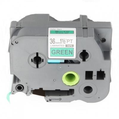 Banda compatibila Brother TZ-761 / TZe-761, 36mm x 8m, text negru / fundal verde