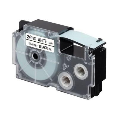 Banda compatibila Casio XR-24WE1, 24mm x 8m, text negru / fundal alb