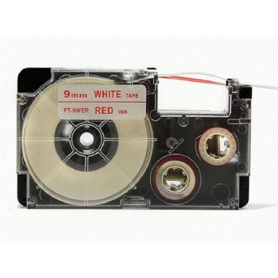 Banda compatibila Casio XR-9WER 9mm x 8m text rosu / fundal alb