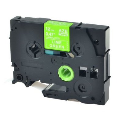 Banda compatibila Brother TZ-MQG35 / TZe-MQG35, 12mm x 5m, text alb / fundal verde