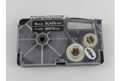 Banda compatibila Casio XR-9ABK 9mm x 8m text alb / fundal negru