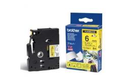 Brother TZ-FX611 / TZe-FX611, 6mm x 8m, flexi, text negru / fundal galben, banda original